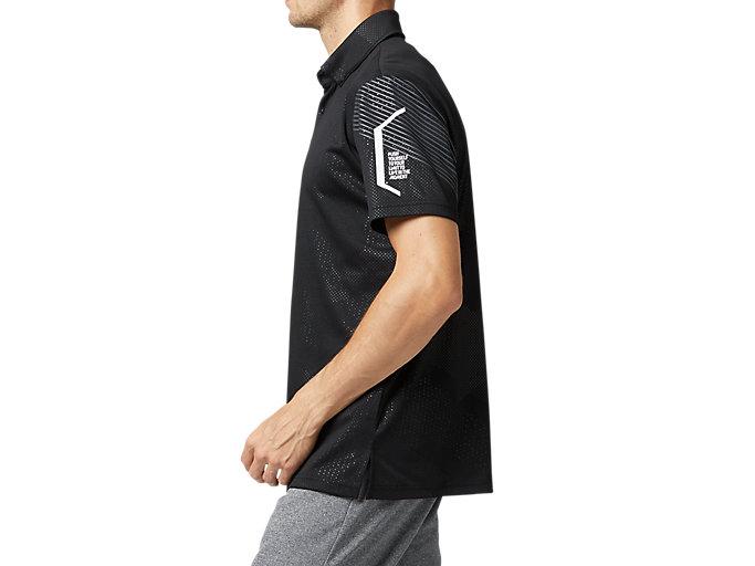 Side view of LIMOグラフィックボタンダウンポロシャツ, パフォーマンスブラック