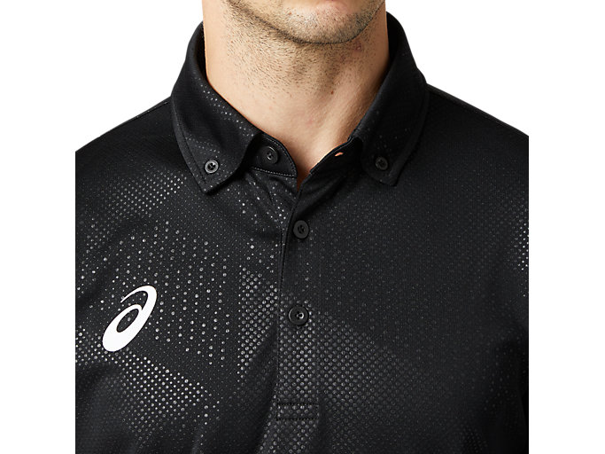 Alternative image view of LIMOグラフィックボタンダウンポロシャツ, パフォーマンスブラック