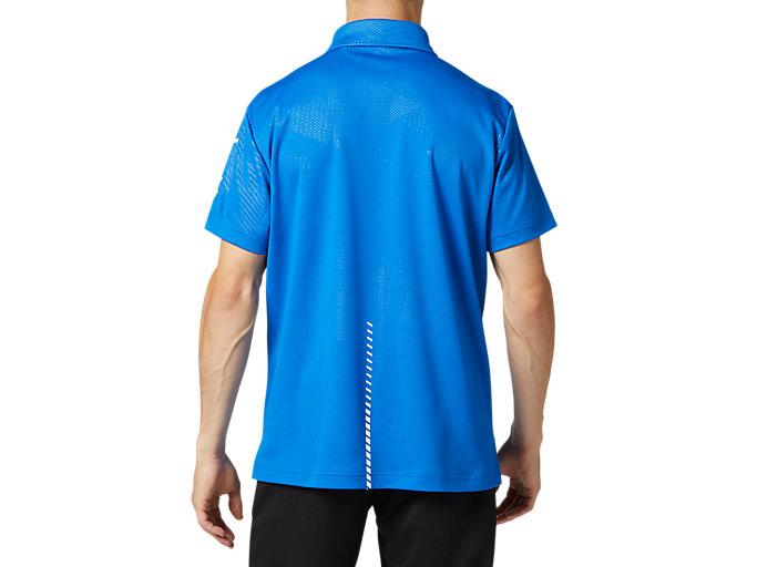 Back view of LIMOグラフィックボタンダウンポロシャツ, ツナブルー