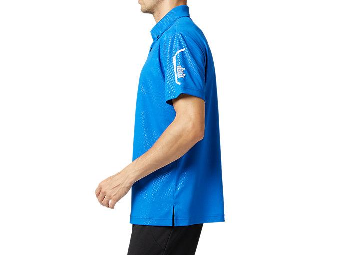 Side view of LIMOグラフィックボタンダウンポロシャツ, ツナブルー