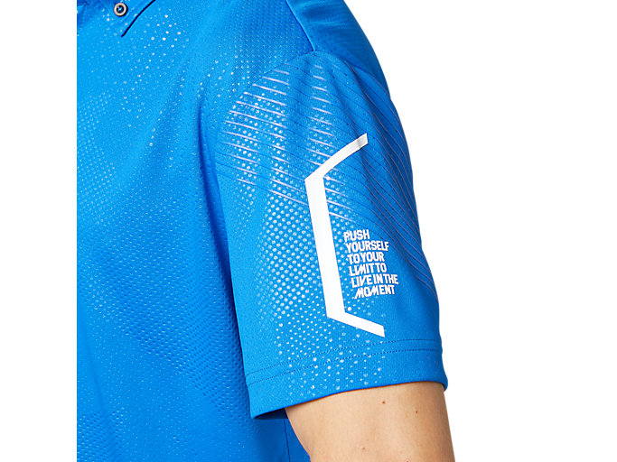 Alternative image view of LIMOグラフィックボタンダウンポロシャツ, ツナブルー