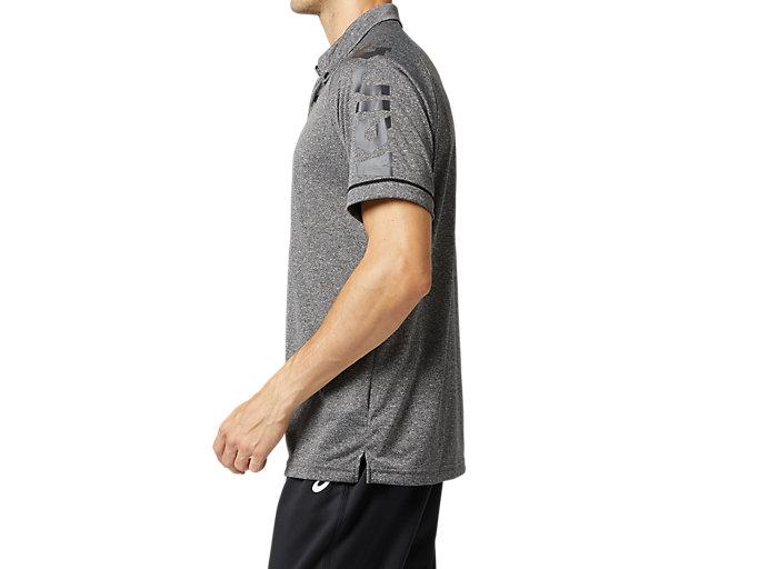 Side view of CAボタンダウンポロシャツ, パフォーマンスブラック杢