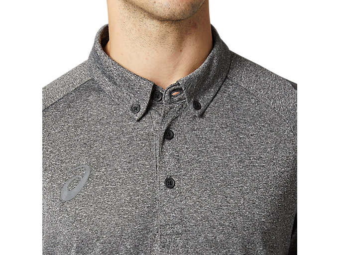 Alternative image view of CAボタンダウンポロシャツ, パフォーマンスブラック杢