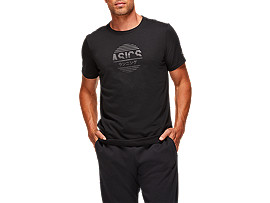 Front Top view of TOKYO GRAPHIC TEE, PERFORMANCE BLACK