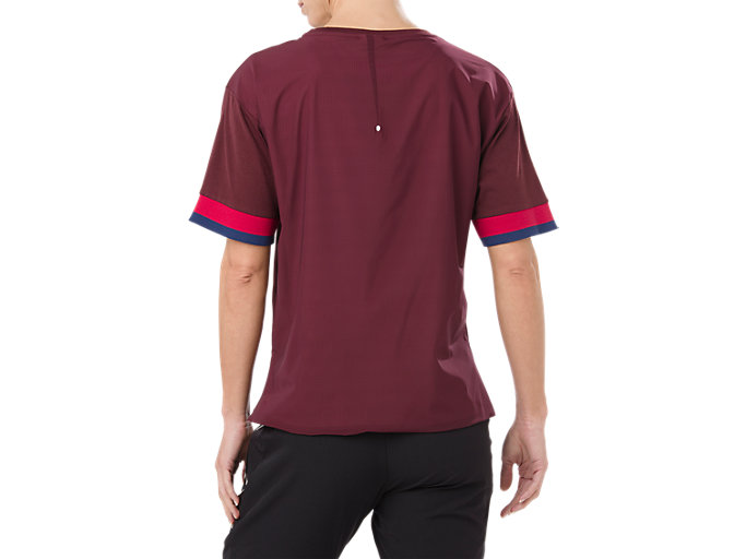Back view of MIX FABRIC SS TOP, PORT ROYAL