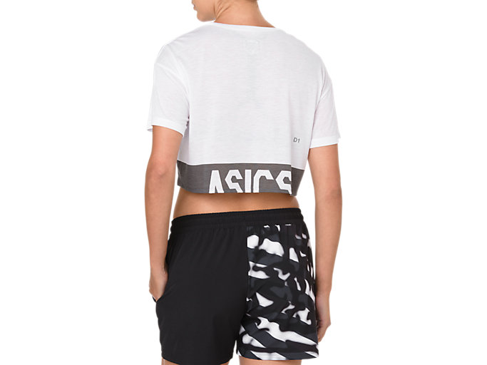Back view of POWER SS CROP TOP, BRILLIANT WHITE