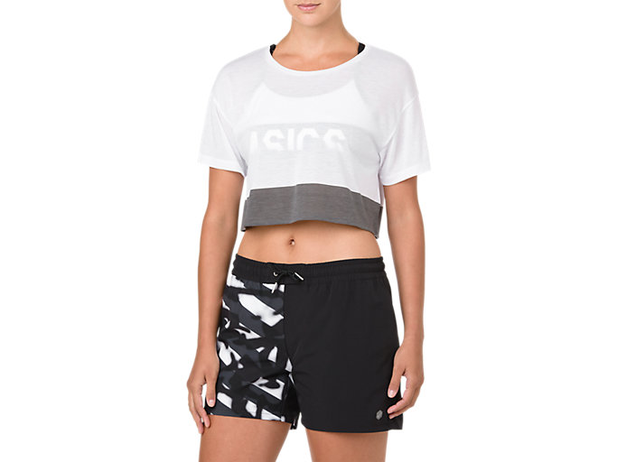 Front Top view of POWER SS CROP TOP, BRILLIANT WHITE