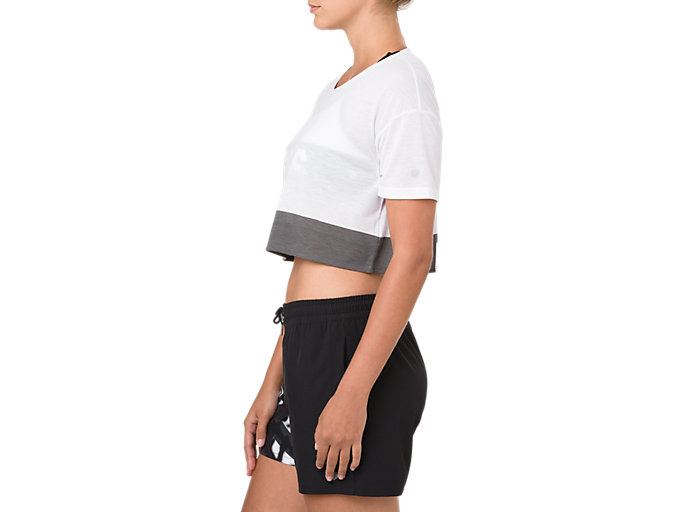 Side view of POWER SS CROP TOP, BRILLIANT WHITE