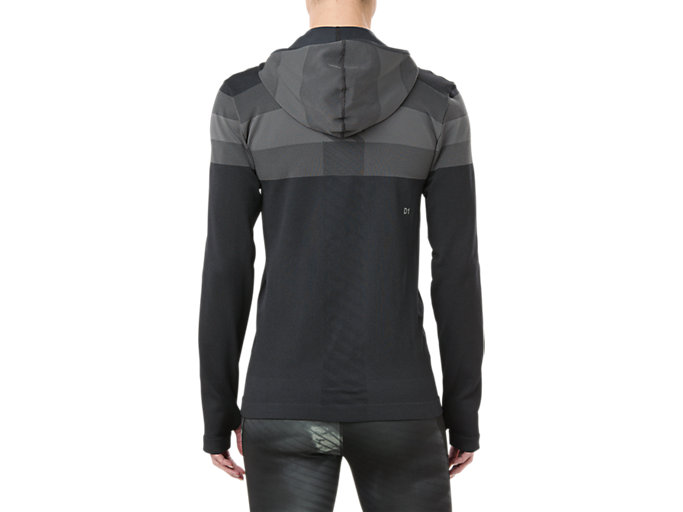 Back view of SEAMLESS FZ HOODIE, PERFORMANCE BLACK