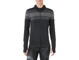 Front Top view of SEAMLESS FZ HOODIE, PERFORMANCE BLACK