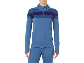 Front Top view of SEAMLESS FZ HOODIE, AZURE