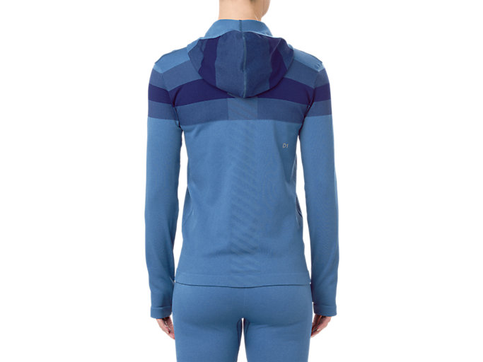Back view of SEAMLESS FZ HOODIE, AZURE