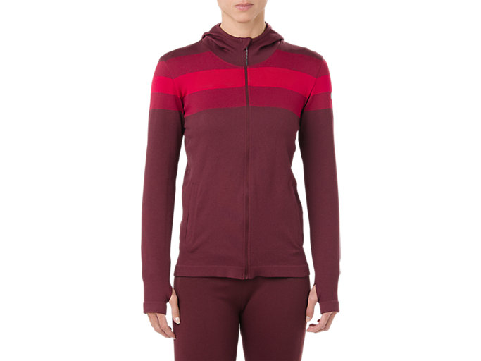 Front Top view of SEAMLESS FZ HOODIE, PORT ROYAL
