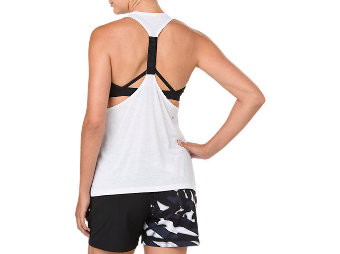 Back view of POWER STRAP BACK TANK, BRILLIANT WHITE