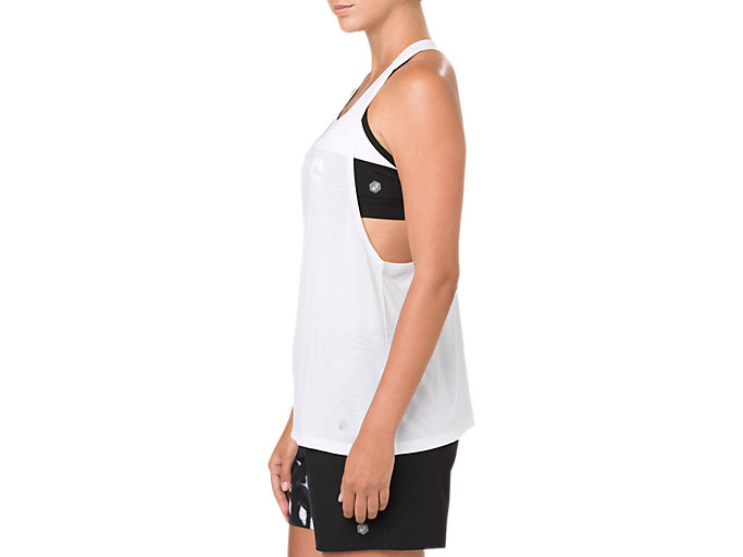 Side view of POWER STRAP BACK TANK, BRILLIANT WHITE