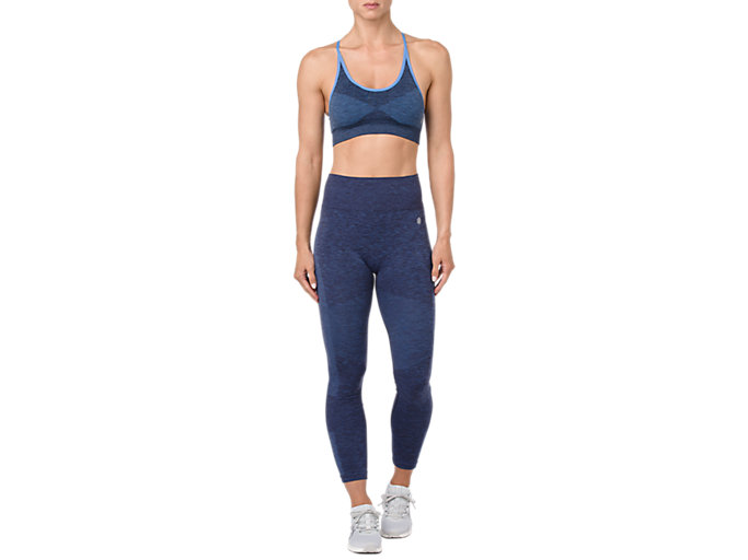 Front Top view of SEAMLESS CROPPED TIGHT, PEACOAT HEATHER