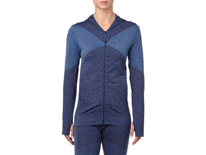 Front Top view of SEAMLESS FZ HOODIE, PEACOAT HEATHER