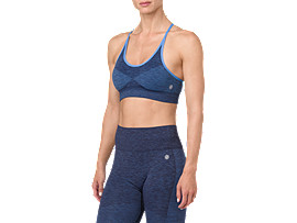 Front Top view of SEAMLESS STRAP BRA, PEACOAT HEATHER