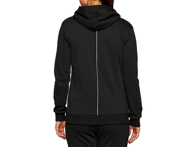 Back view of ESSENTIAL FRENCH TERRY FZ HOODIE, PERFORMANCE BLACK