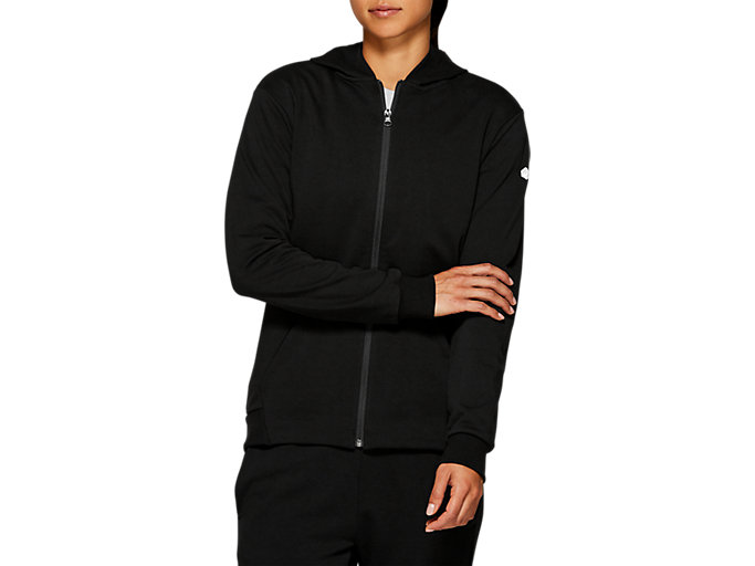 Front Top view of ESSENTIAL FRENCH TERRY FZ HOODIE, PERFORMANCE BLACK