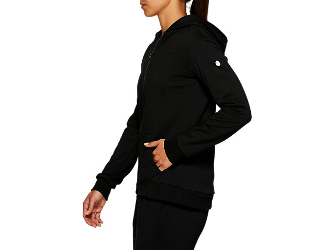Side view of ESSENTIAL FRENCH TERRY FZ HOODIE, PERFORMANCE BLACK