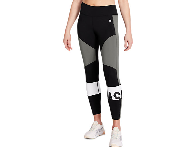 Front Top view of COLOR BLOCK CROPPED TIGHT 2, PERFORMANCE BLACK/CARBON