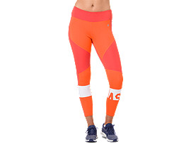 Front Top view of COLOR BLOCK CROPPED TIGHT 2, NOVA ORANGE