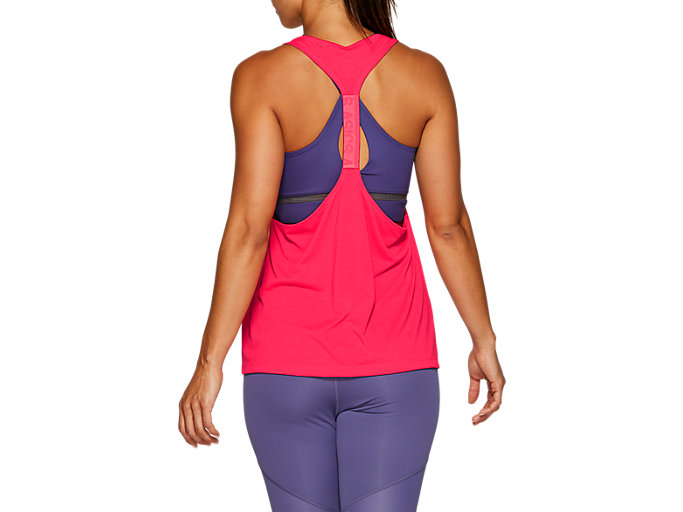 Back view of W GPX STRAP TANK, LASER PINK
