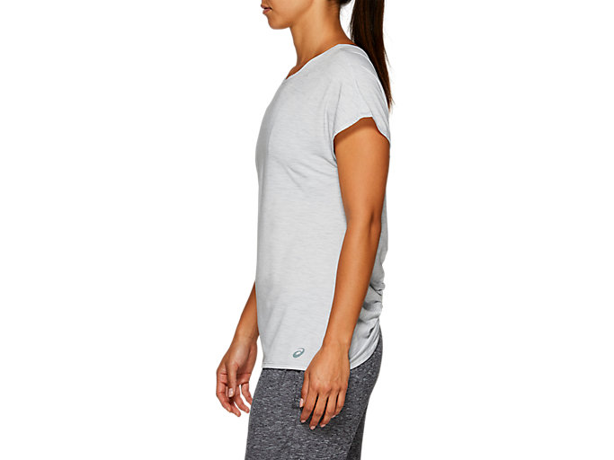 Side view of W SS T, MID GREY HEATHER