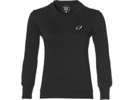 Front Top view of ASICS CHEST LOGO CREW, PERFORMANCE BLACK