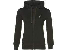 Front Top view of ASICS CHEST LOGO FZ HOODIE, PERFORMANCE BLACK