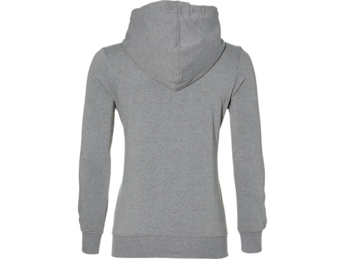 Back view of ASICS CHEST LOGO FZ HOODIE, MID GREY HEATHER/
