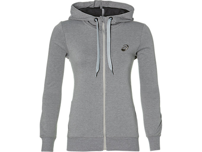 Front Top view of ASICS CHEST LOGO FZ HOODIE, MID GREY HEATHER/