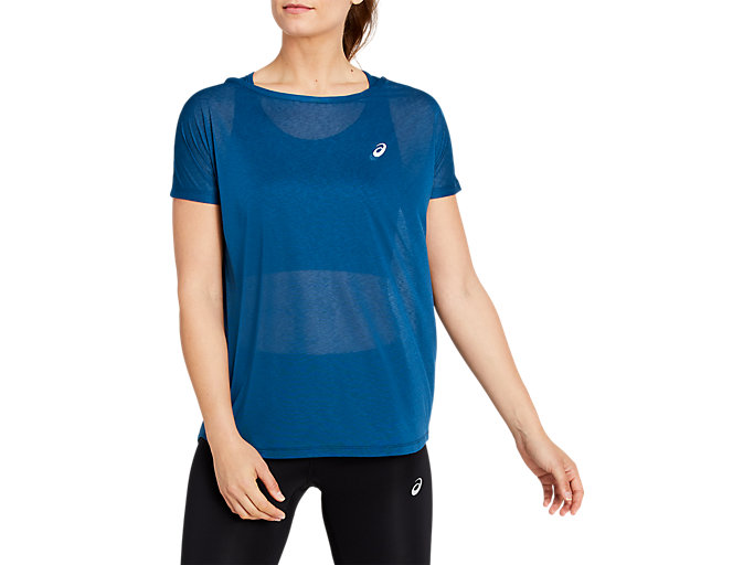 Front Top view of SPORT OS TEE BACK, MAKO BLUE/PERFORMANCE BLACK
