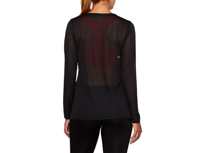 Back view of SLUB LS TOP, PERFORMANCE BLACK