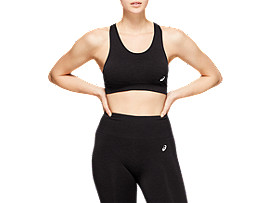 Front Top view of W SEAMLESS FLEX BRA, PERFORMANCE BLACK HEATHER