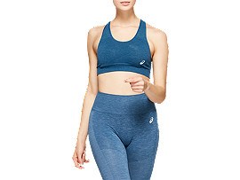 Front Top view of W SEAMLESS FLEX BRA, MAKO BLUE HEATHER