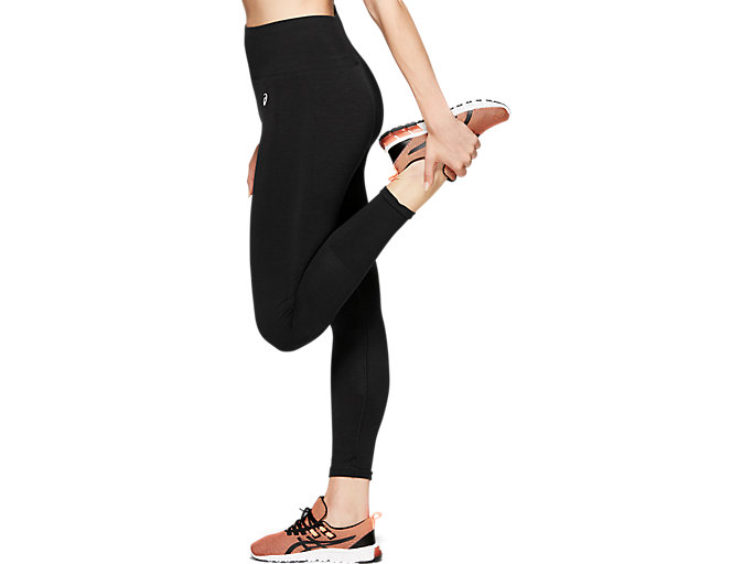 Side view of W SEAMLESS CPD TIGHT, PERFORMANCE BLACK HEATHER