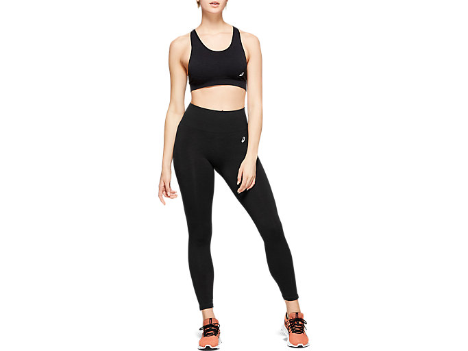 Front Top view of W SEAMLESS CPD TIGHT, PERFORMANCE BLACK HEATHER