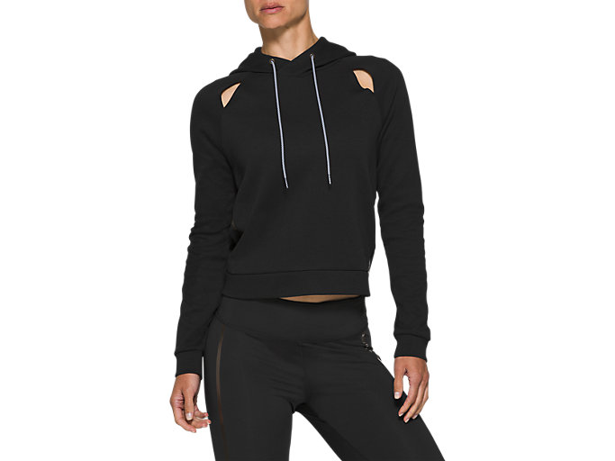 Front Top view of W NS PIPED DREAM HOODY, PERFORMANCE BLACK