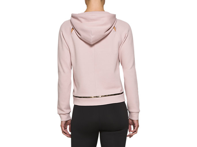 Back view of W NS PIPED DREAM HOODY, WATERSHED ROSE