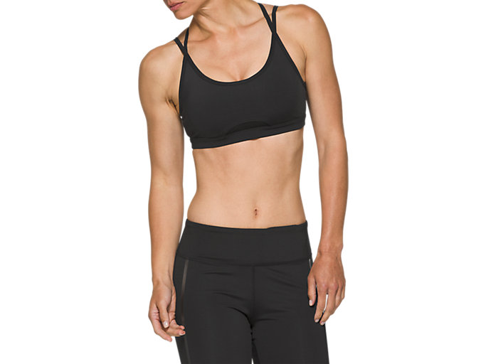 Front Top view of W NS PIPED DREAM BRA, PERFORMANCE BLACK