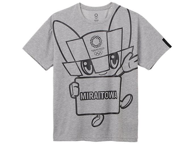 Front Top view of Tシャツ(東京2020オリンピックマスコット), グレー杢