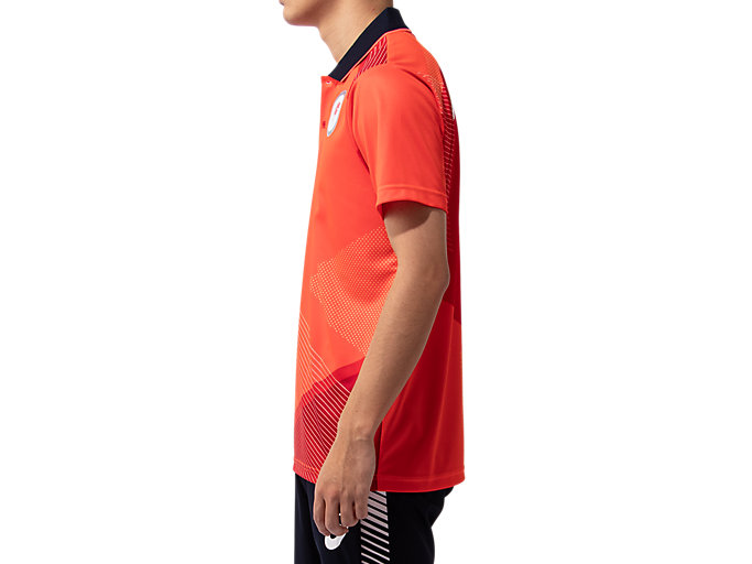 Side view of ポロシャツ(JOCエンブレム), サンライズレッド
