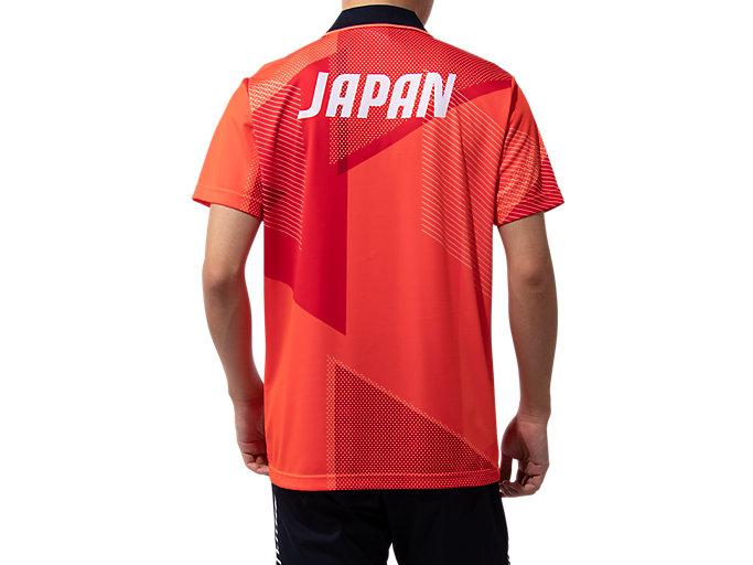 Back view of ポロシャツ(JPCエンブレム), サンライズレッド