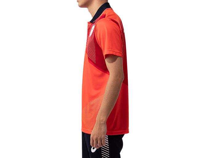 Side view of ポロシャツ(JPCエンブレム), サンライズレッド