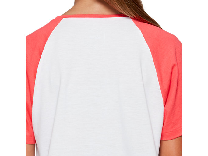 Back view of G COLOR BLOCK SS T, BRILLIANT WHITE/LASER PINK