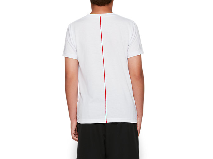 Back view of B CROPPED ASICS SS T, BRILLIANT WHITE