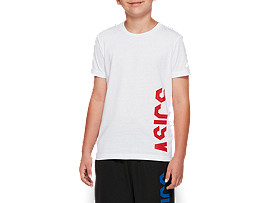Front Top view of B CROPPED ASICS SS T, BRILLIANT WHITE