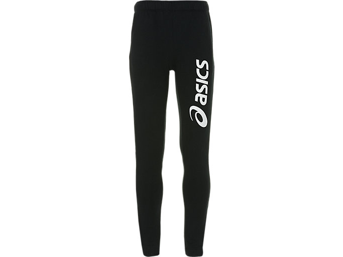 Front Top view of ASICS BIG LOGO SWEAT PANT, PERFORMANCE BLACK/BRILLIANT WHITE
